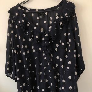 Lane Bryant Navy Blue and White Dotted Blouse